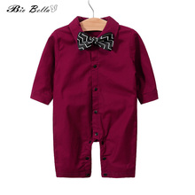 0-18 month Newborn Baby Boy Clothes Spring Autumn Bebes Costume Cotton Long Sleeve Jumpsuit Red Bow Tie Gentleman Romper
