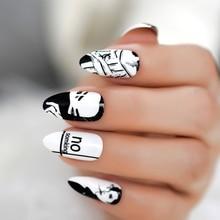 Классический черно-белый Рисунок шпильки накладные ногти Дизайн средней длины поддельные ногти маникюр искусственные Кончики ногтей Бесплатный клей стикер