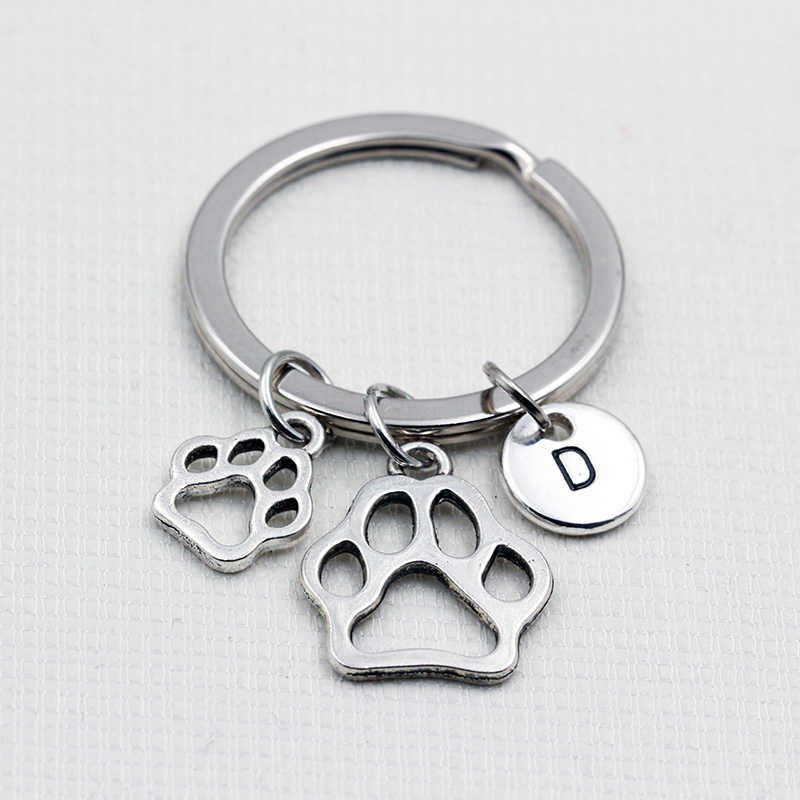 Small & Big Dog Paw Prints/Personalized Keychain Keyrings/English Alphabet A To Z Letters Pendant Key Chain/Fashion Jewelry