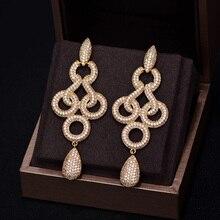 GODKI marque nouvelle mode chaude populaire de luxe longue balancelle pleine zircon cubique pavé boucle doreille de mariage pour les femmes