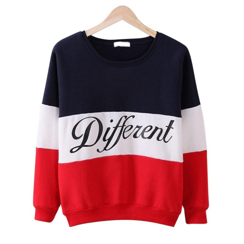 Different Letter Print patchwork Women Hoodies loose plus size cotton sweatshirts full sleeve female 2017 design pullovers 40J