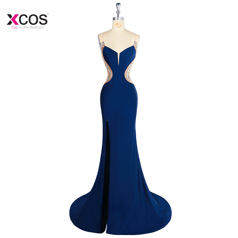 Side Split Long Mermaid Evening Dress 2018 Scalloped Sleeveless Crystal Beaded Club Party Jersey Backless Prom Gown