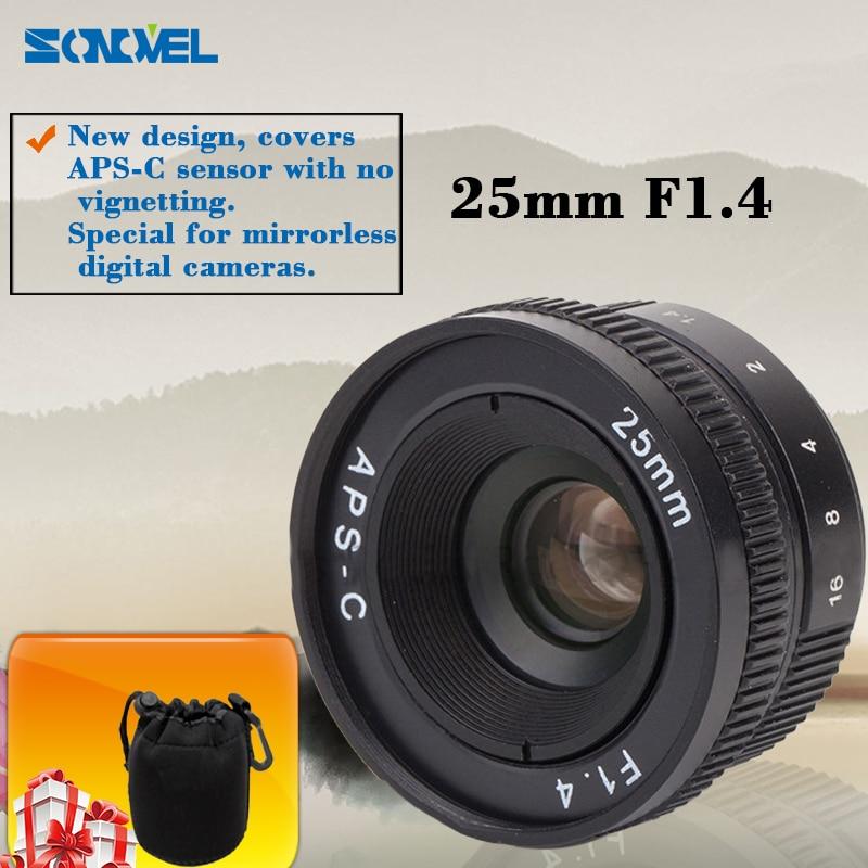 mirrorless 25mm F1.4 C-Mount Lens For APS-C Camera M4/3 FX EOSM N1 P/Q NEX E-P1 E-PL1 G1 GF1 GH1 NEX-3 NEX-5 NEX-7 kaxinda metal 35mm f 1 7 lens for m4 3 nex fx eosm n1 p q e1 aps c mirrorless