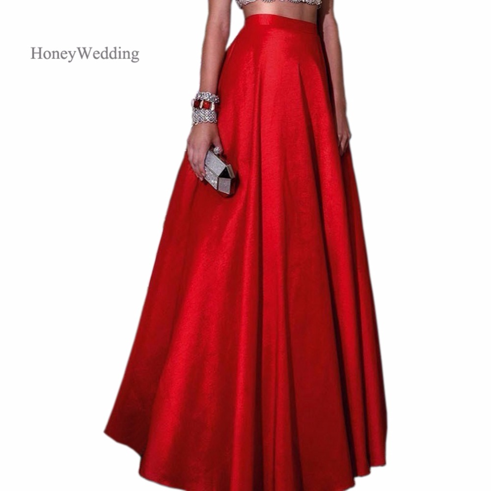 2018 New Fashion Red Satin Maxi Skirts For Wedding Party Skirt Chic Zipper Waist A Line Long Skirts For Evening Party