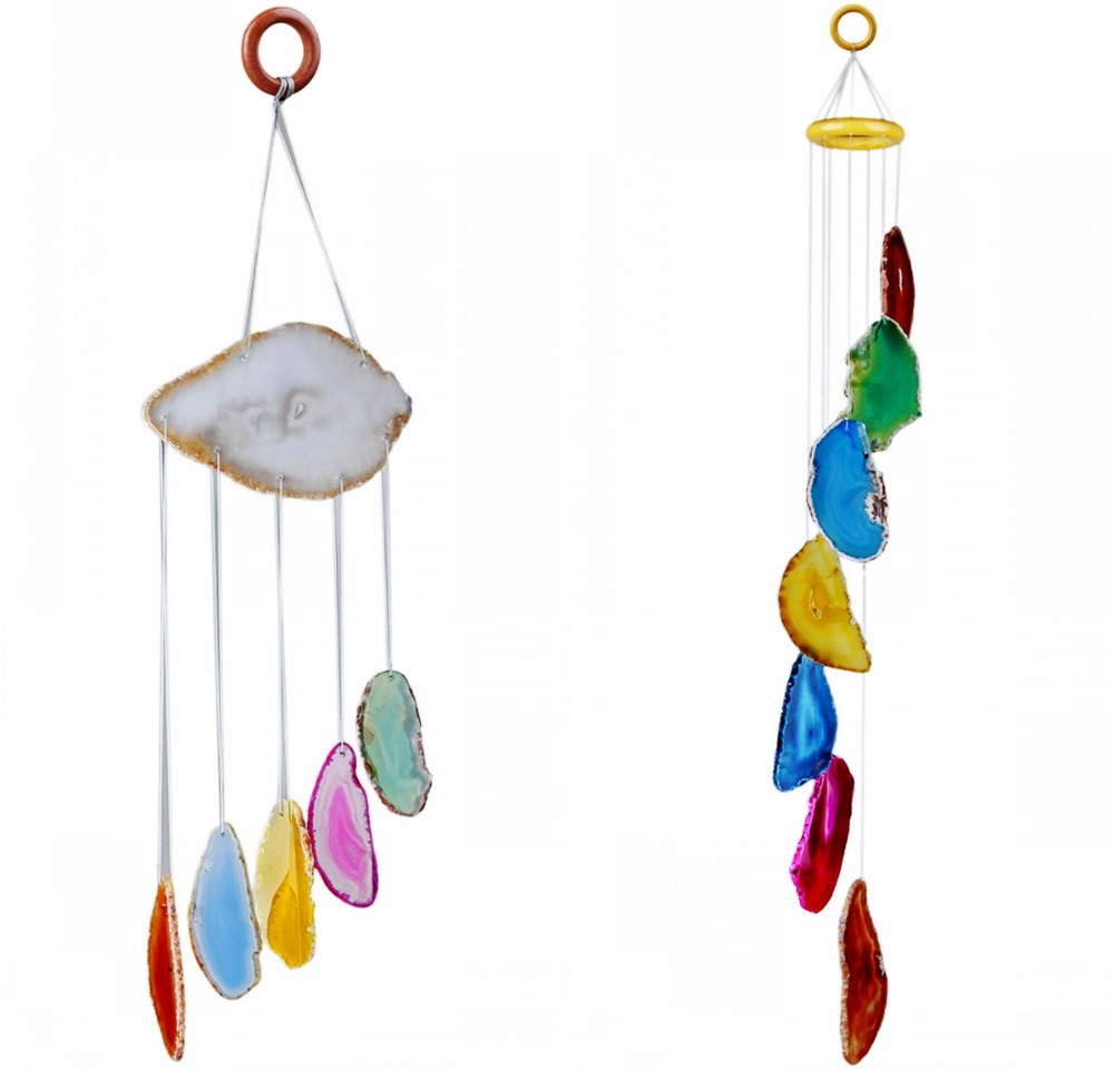 TUMBEELLUWA Multi-color Agate Slices Wind Chime Home Decoration,Crystal Collection