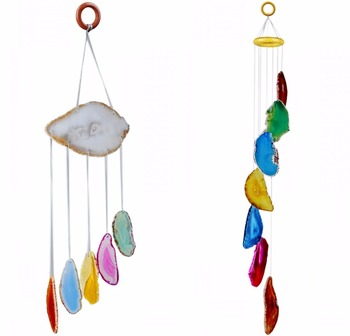 TUMBEELLUWA Multi-color Agate Slices Wind Chime Home Decoration,Crystal Collection tumbeelluwa 7 chakra agate slices geode cup mat beverage coasters