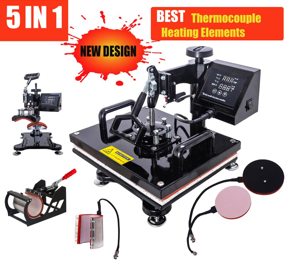 New Design 30*38CM 5 In 1Heat Press Printer Sublimation Machine Heat Press Machine For T-shirts Plates/Cap/Mug/Phone Covers