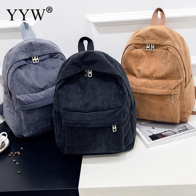Cute Style Soft Fabric Backpack Female Corduroy Design School Backpack For  Teenage Girls Striped Backpack Women Blue Black Khaki 3f1a5bf1c3b06