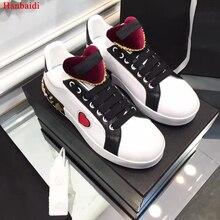 Hanbaidi Luxo Projeto Mulheres Casusal Sapatos Pista Coração Decoração Lace Up Sapatilhas Gladiador Flats Tenis Masculino Adulto Outfit 9.5