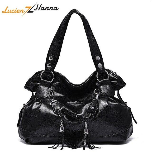397e396fd064 New Large Capacity Shoulder Bag Women Handbags Tassel Female Casual Tote  Bag Soft PU Leather Handbag