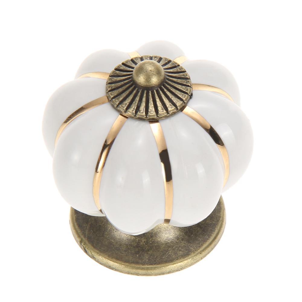Ceramic Bee Cabinet KnobWhite /& Brown Cupboard Door Handle Drawer Pull