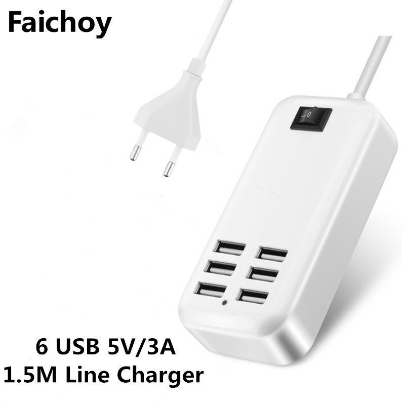 Faichoy Good USB Charger HUB 6 Ports EU/US 3A Plug Wall Socket Dock Fast Charging Extension Power Adapter for Cell Phone Tablet dock connector to usb cable