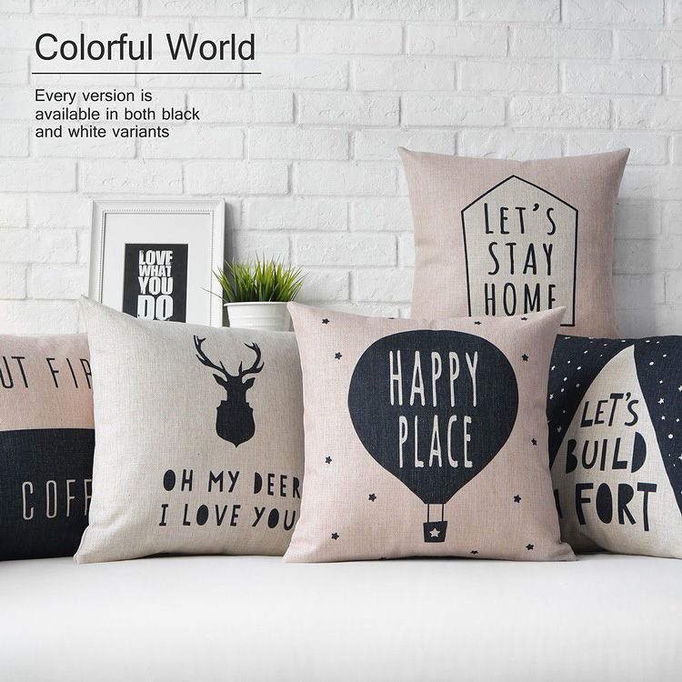drop ship let s stay home nordic deer pillow cover cushion cover cat throw pillow home decor pillowcase decorative pillowsham