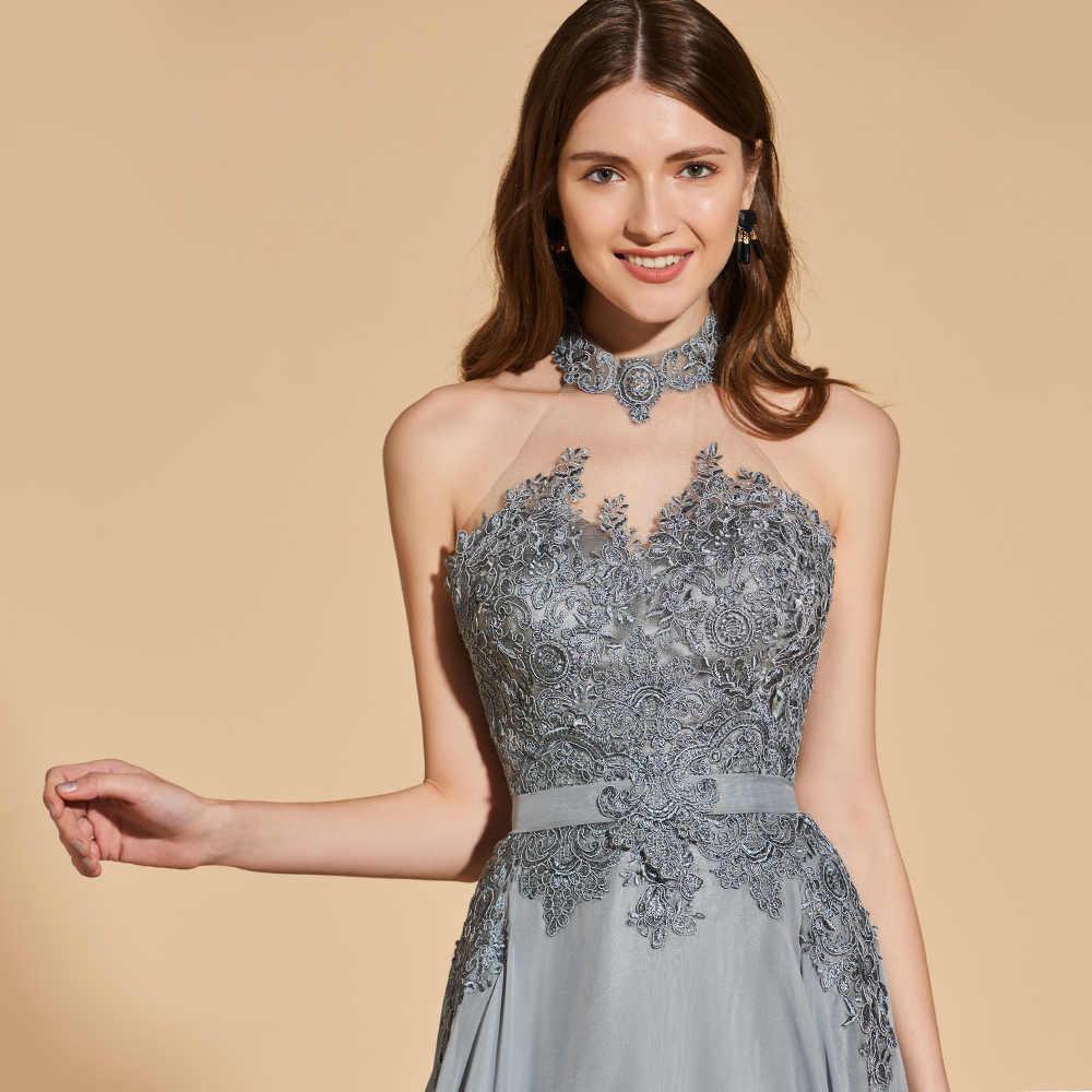 128be2c09cd ... Платье светло-серое длинное платье для выпускного вечера без рукавов  простое ТРАПЕЦИЕВИДНОЕ ПЛАТЬЕ с аппликацией