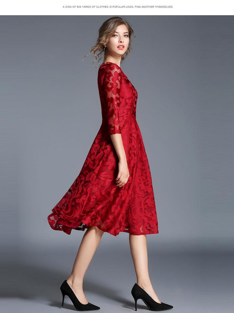 Borisovich New 18 Spring Fashion England Style Luxury Elegant Slim Ladies Party Dress Women Casual Lace Dresses Vestidos M107 9