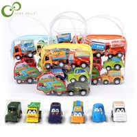 6 unids/lote tirar coche juguetes de los niños del coche automóvil de carreras para niños Mini coches de dibujos animados de autobús de fricción camión de juguetes para niños niño regalos GYH