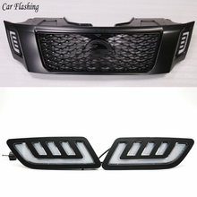2PCS DRL Daytime Running Lights mask grille LED lamp with turning signal For Nissan NAVARA NP300 D23 2015 2016 2017 2018 2019
