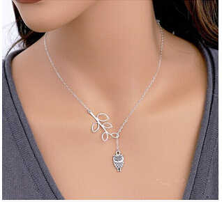 Wholesale New Fashion Simple Link Chain Infinite Collar 8 Bird Cross Silver Plated Owl Necklaces&Pendants For Women Jewelry