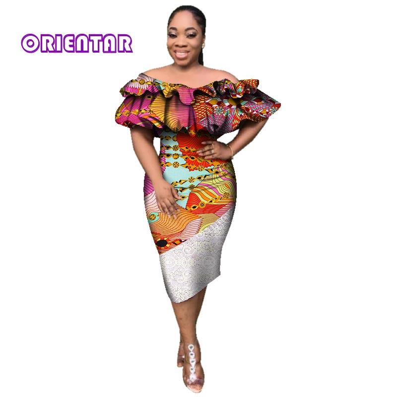 Slash Frauen Dame Afrika Der Für Afrikanische Kleid Mitte Wade Kleider afrikanische Us46 Outfit Elegante Kleidung Maxi Hals 94 20Off rhQdts