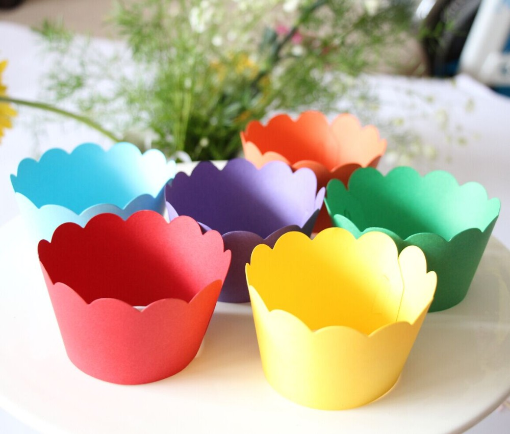 24pcs Rainbow Cupcake Wrappers! scalloped cupcake wrappers candy ...