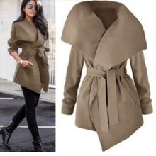B 2019 Spring Autumn Fashion Jacket Coat Women Large Lapel Solid Overcoat Long Sleeve Pockets Casual Outerwear Black/Grey/Khaki black side pockets long sleeves outerwear
