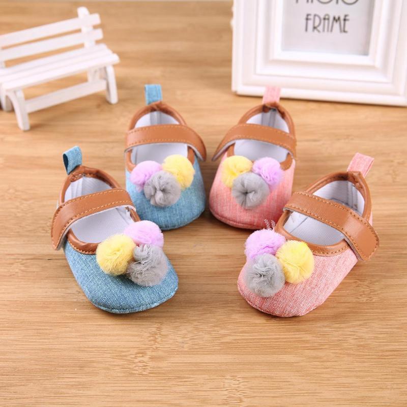 Cute Sweet Girls Baby Prewalker Shoes Newborn Princess Cotton Ball Hook and Loop Soft Non-Slip First Walkers Toddler Kids Infant