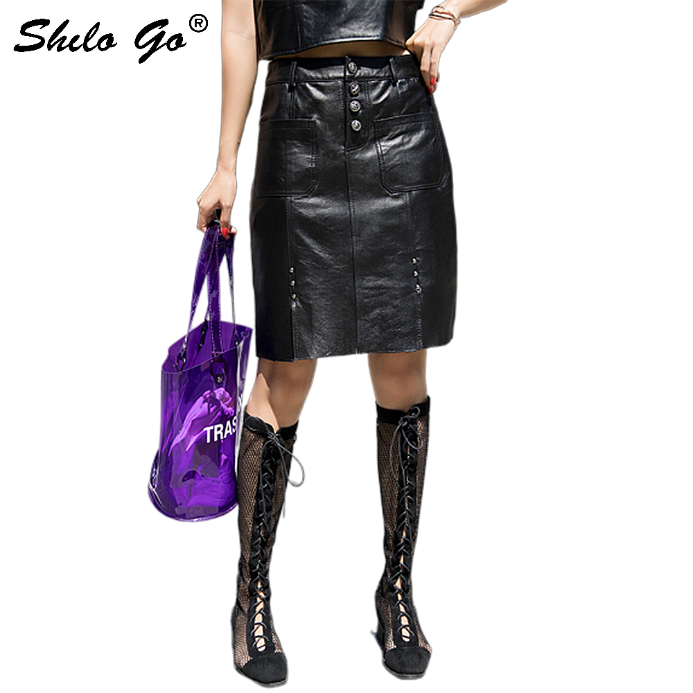 Streetwear Leather Skirts Womens Elegant Single Breasted High Waist Sheepskin Genuine Leather Pencil Skirts Knee Length Skirts