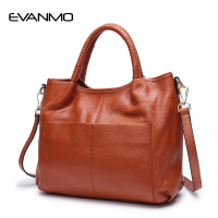 Women Handbag Female Genuine Leather Top handle Tote Bag Ladies Shoulder Crossbody Bag Large Messenger Bag with Two Side Pockets