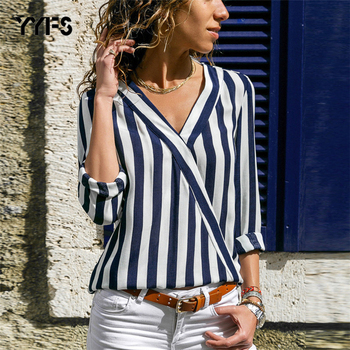 YYFS 2019 Chiffon Blouse Women Summer Elegant Striped V-Neck Shirt Loose Casual Tops Blusas Camisas Mujer Plus Size S-3XL