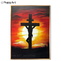 Jesus Christ on the Cross in Sunrise Landscape Oil Painting Handmade Modern Abstract Jesus Christ Figure Oil Painting on Canvas