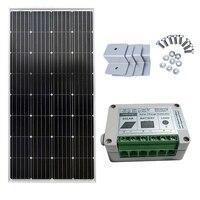 150 Вт монокристаллический Солнечный комплект 15A Солнечный контроллер и Z кронштейн дома мощность солнечной энергии системы Солнечная сотов
