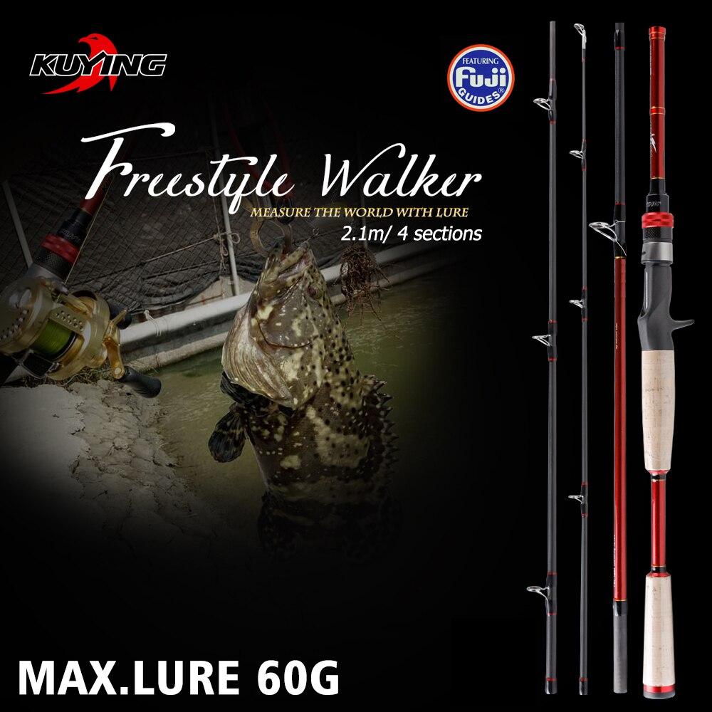 KUYING Freestyle Walker 2.1 m Richiamo Duro Canna Da Pesca Casting Mini Tasca Viaggi Palo di Carbonio Canna Bastone Azione A Medio Veloce max. 60g