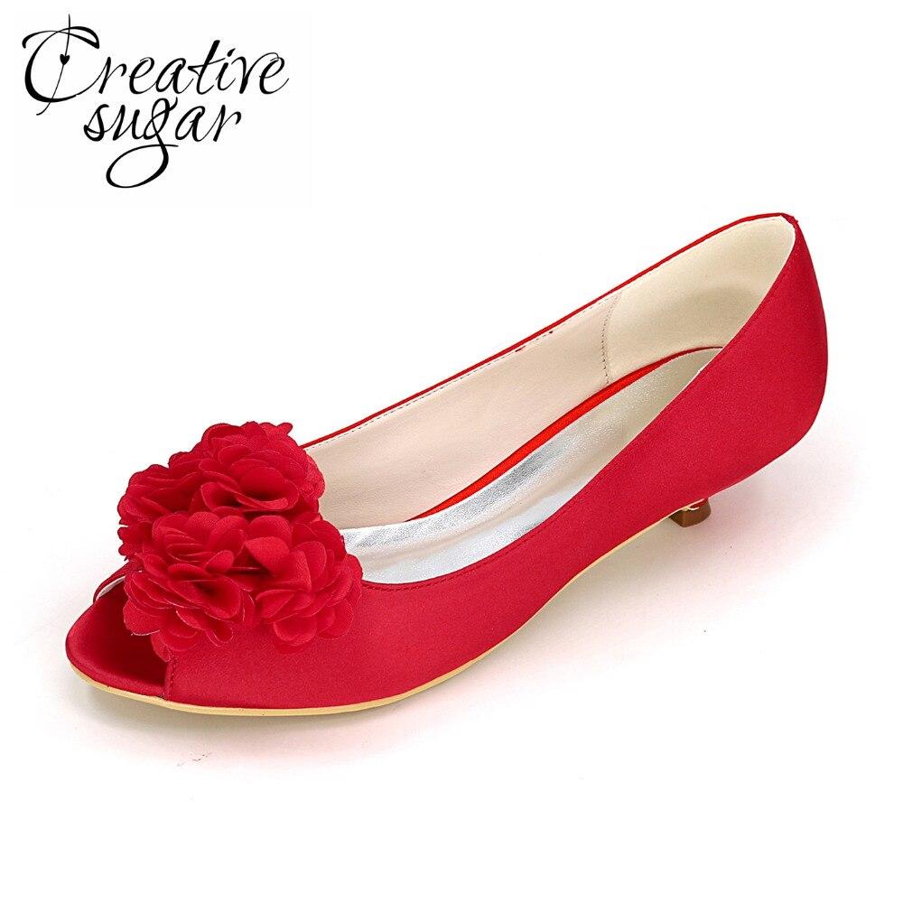 Creativesugar Open toe 3D flower petal low heel woman bridal bridesmaid wedding prom party dress shoes purple champagne white creativesugar lady low heel dress