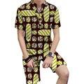 Adaptados personalizado homens moda africano dashiki impressão tops + shorts set homens roupas da moda coloridas áfrica impressão clothing