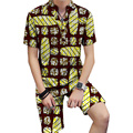 Tailored custom men fashion african print tops+shorts set men dashiki clothes fashion brightly colored africa print clothing