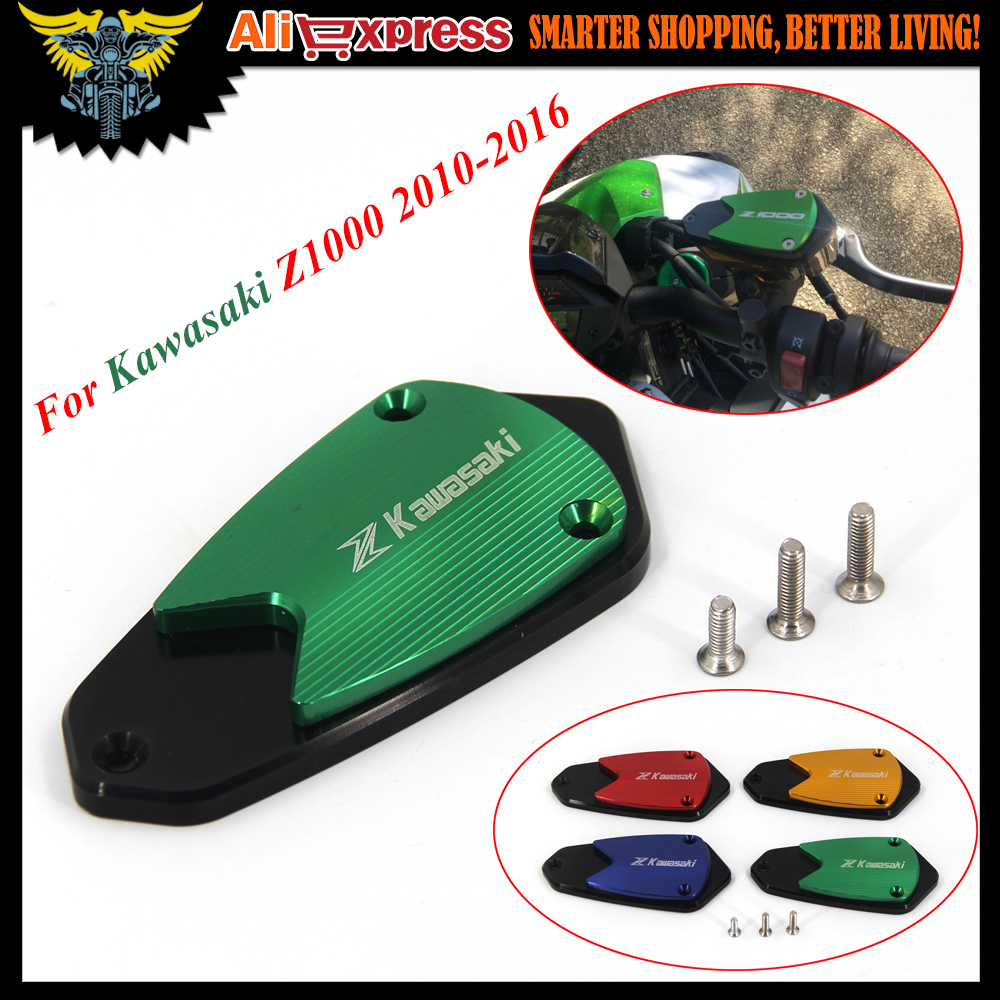 For Kawasaki Z1000 2010 2011 2012 2013 2014 2015 2016 Motorcycle CNC Aluminum Front brake Fluid Reservoir Cap Cover With logo for kawasaki z800 2013 2015 motorcycle accessories cnc aluminum front brake reservoir cover green