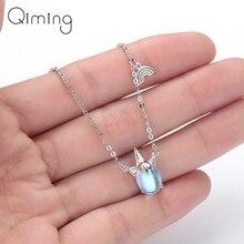Ожерелье с единорогами из нержавеющей стали с фианитами, роскошное ювелирное изделие с кристаллами для женщин и девочек, серебряное ожерелье с подвеской, Прямая поставка