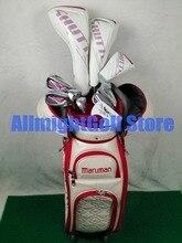 여자 골프 클럽 maruman 셔틀 드라이버 + 페어웨이 우드 + 하이브리드 + 아이언 + 퍼터 + 가방 골프 세트 헤드 커버가있는 흑연 샤프트