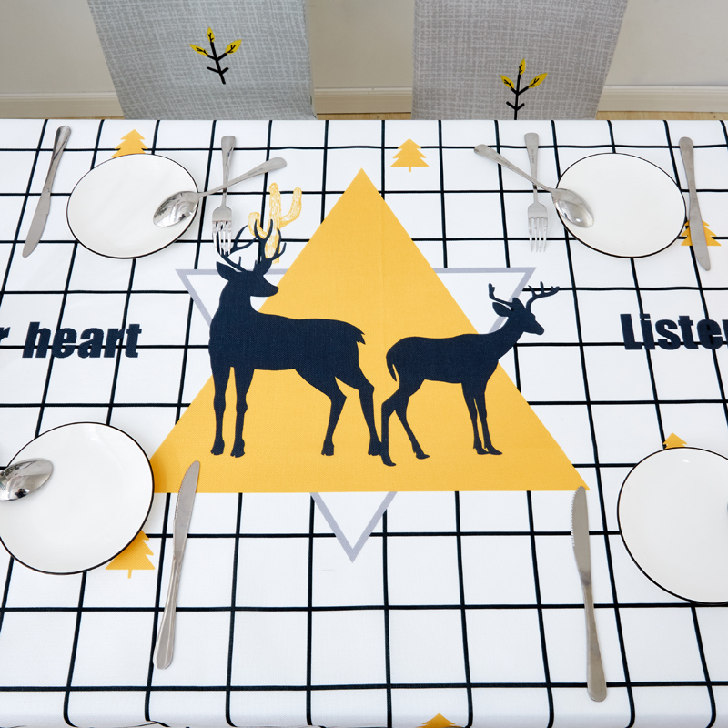 Image 2 - Parkshin Modern Cartoon Deer Tablecloth Home Kitchen Rectangle Decorative Table Cloths Party Banquet Dining Table Cover 4 Size-in Tablecloths from Home & Garden
