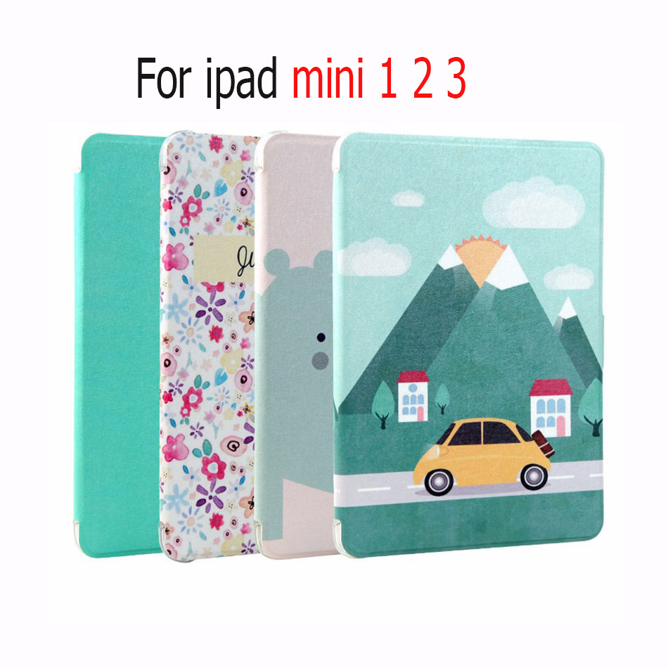 Colorful Painted PU Leather smart Case For Apple iPad Mini 1 2 3 7.9 '' Tablet Children's cartoon Cover case for ipad mini 1/2/3 apple ipad mini smart case black mgn62zm a