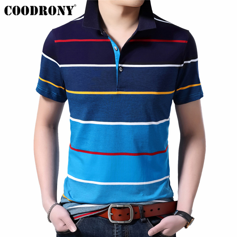 COODRONY Cotton T Shirt Men 2019 Spring Summer Short Sleeve T-Shirt Men Streetwear Fashion Casual Turn-down Collar Tshirt S95115