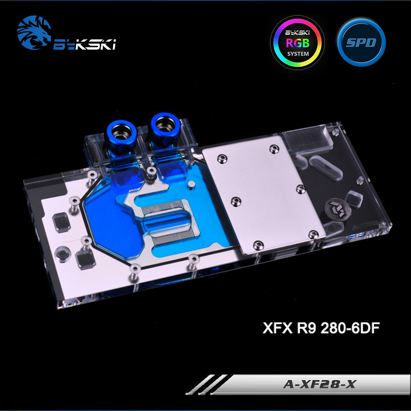 Bykski A-XF28-X Full Cover Graphics Card Water Cooling Block RGB/RBW/ARUA for XFX R9 280-6DF 4pin mgt8012yr w20 graphics card fan vga cooler for xfx gts250 gs 250x ydf5 gts260 video card cooling