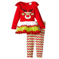 2016 new girls fall paragraph Christmas Reindeer mosaic gauze skirt + striped trousers two piece suit