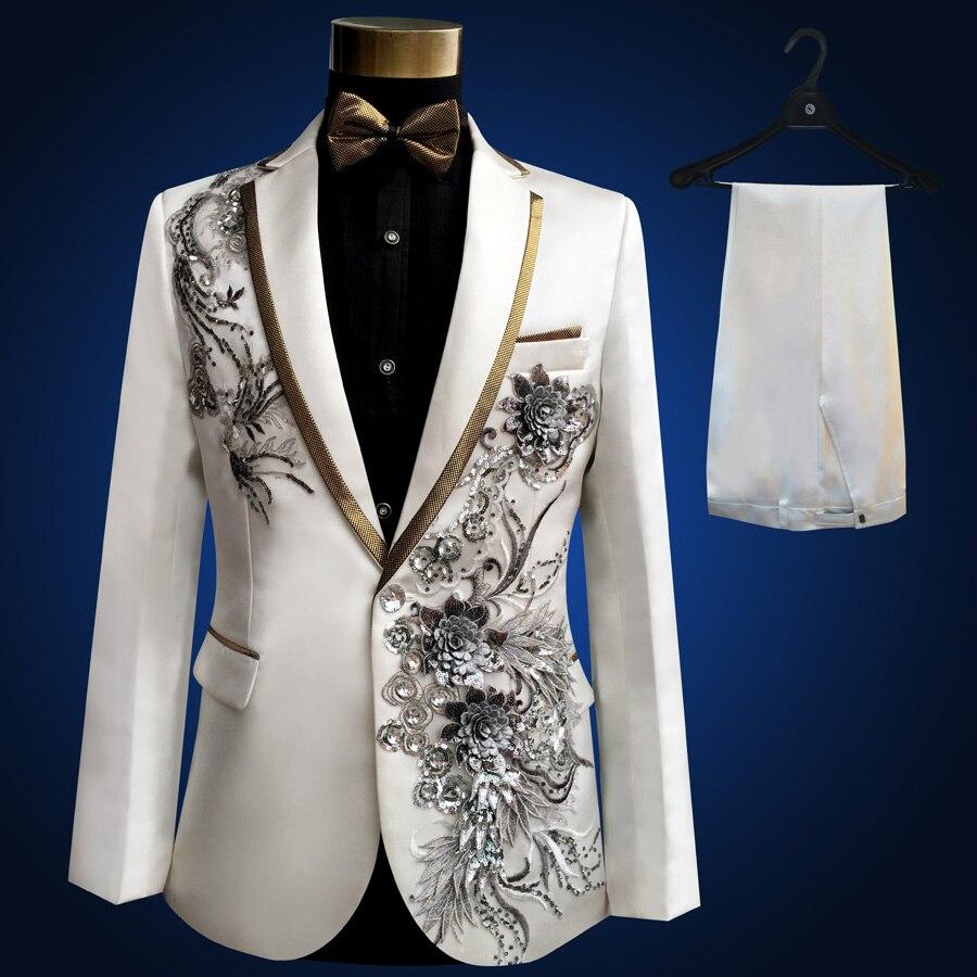 2018 Brand Men Wedding Suits Sequins Prom Tuxedo Boyfriend Compere Male Singer Blazer Slim Fit Black Suit Jacket + Pants + Bowti