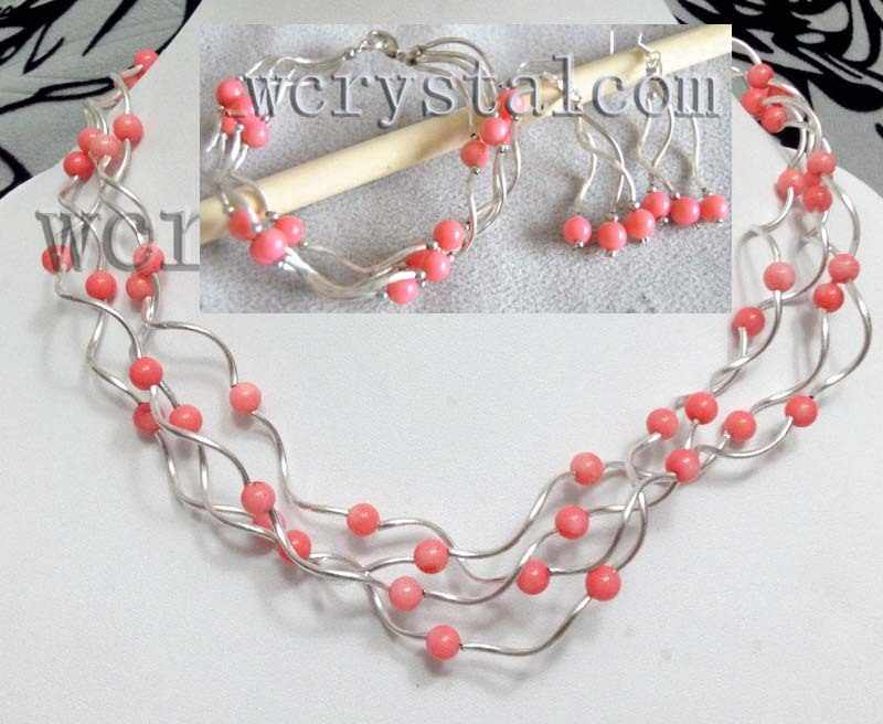 Pink Coral 6mm Silver Plated Pipe Necklace Bracelet Set Earrings