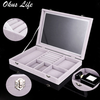 Velvet Jewelry Box Lockable Storage Box Organizer Case Watches Jewelry Display Rack Holder Ring Necklace Makeup Box Glass Cover