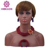 Nigerianischen Hochzeits Afrikanische Perlen Schmuck-Set 2 Schichten Rot Mix Königsblau Halskette Zubehör Dubai Braut Kostenloser Versand ALJ811
