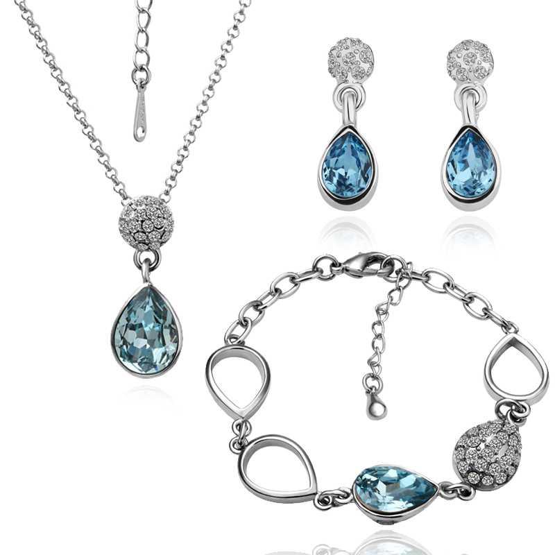 Free Shipping 18K GP Gold Plated Jewelry Set Fashion Nickel Free Tin Alloy Rhinestone Crystal Necklace Earring Bracelet SMTPS062