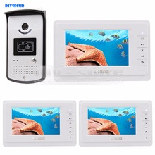 DIYSECUR 7 inch Wired Video Door Phone Kit 700TVL Camera RFID Unlocking Night Vision 3 Monitor