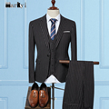 MarKyi 2017 fashion striped men suit slim fit plus size good quality mens suits wedding groom 3 piece suit men
